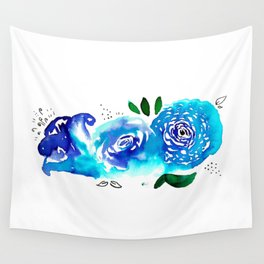 Three Blue Christchurch Roses Wall Tapestry