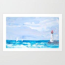 Rounding the Lighthouse Art Print