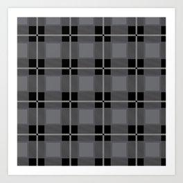 Gray and Black Flannel-Plaid Pattern Art Print