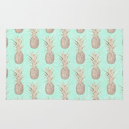 Golden and mint pineapples pattern Rug