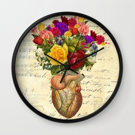 Heart Full of Flowers Wall Clock