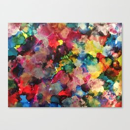 Color Burst - abstract iridescent painting in yellow, red, blue, pink and green Canvas Print
