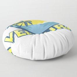 Vintage Ventura Beach, California Surfing Floor Pillow