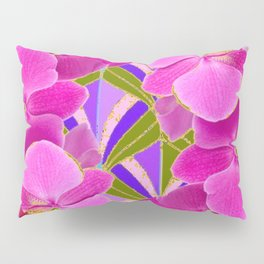 Pink & Fuchsia Purple Art Deco Orchids Art Pillow Sham
