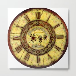 wall clock with torn cloth and old iron Metal Print