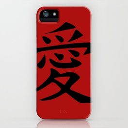 The word LOVE in Japanese Kanji Script - LOVE in an Asian / Oriental style writing. - Black on Red iPhone Case