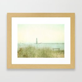 Two Boats and a Lighthouse Framed Art Print