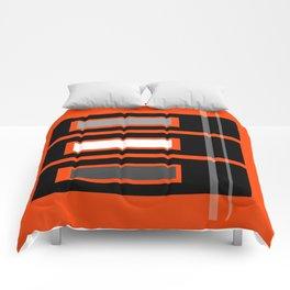 Retro Abstract Tiki Print on Orange Comforters
