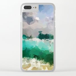 Blue Skies and Beach Geometrical Abstract Clear iPhone Case