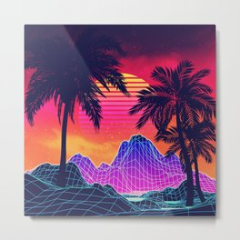 Neon glowing grid rocks and palm trees, futuristic landscape design Metal Print