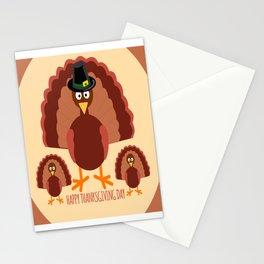 Turkey Family - Happy Thanksgiving Day Stationery Cards