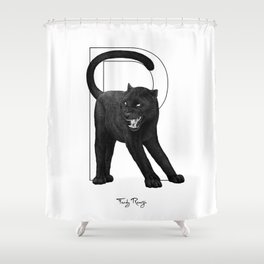 R - black panther Shower Curtain
