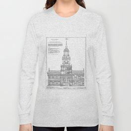 Independence Hall Blueprint Schematics Long Sleeve T-shirt