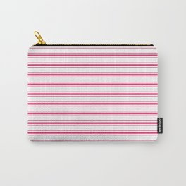Bright Pink Peacock Mattress Ticking Wide Striped Pattern - Fall Fashion 2018 Carry-All Pouch