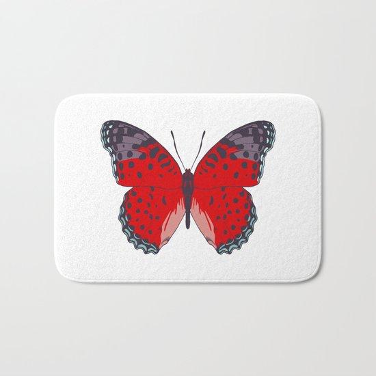 Red Butterfly Bath Mat
