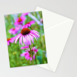 Garden full of Pink Coneflowers Digital Oil Painting Stationery Cards