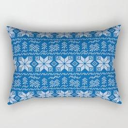 Scandinavian blue, white ornament. Rectangular Pillow