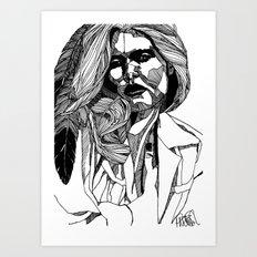 B&W Fashion Illustration - Feather Art Print