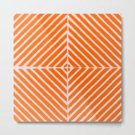 Geometric Art, Orange and Blush Pink, Wall Art Boho Prints Metal Print