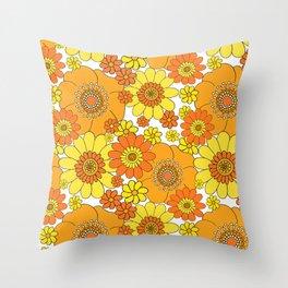 Pushing daisies orange and yellow Throw Pillow