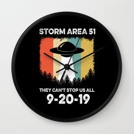 STORM AREA 51 THEY CAN'T STOP US ALL UFO VINTAGE Wall Clock