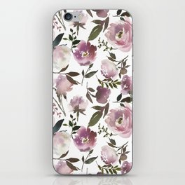 Modern hand painted ivory purple pink watercolor roses iPhone Skin