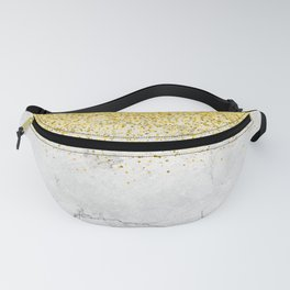 Gold Glitter and Grey Marble texture Fanny Pack