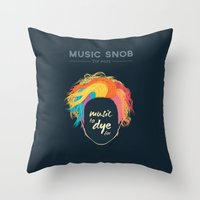 paramore Throw Pillows featuring Music to DYE for — Music Snob Tip #075 by Elizabeth Owens