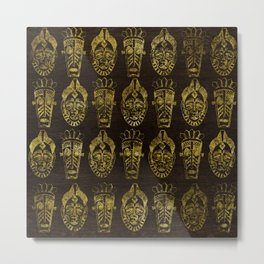 Golden African Masks on Wood Metal Print