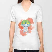 kiki V-neck T-shirts featuring King KiKi by Unknown Illustration