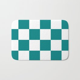 Large Checkered - White and Dark Cyan Bath Mat
