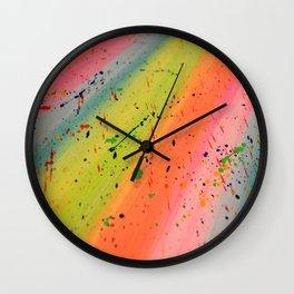 Rainbow Paint Splatter Wall Clock