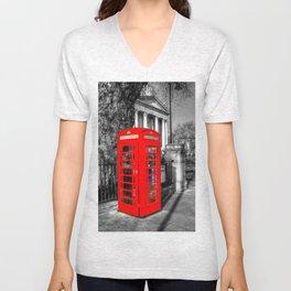 London Red Telephone Box Unisex V-Neck