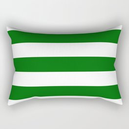 Emerald green - solid color - white stripes pattern Rectangular Pillow