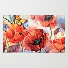watercolor poppies Rug