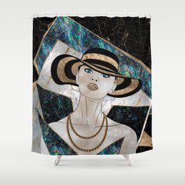 Woman in striped Hat - Gold and Abalone Shower Curtain