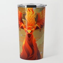 fire elemental fantasy winged creature on wastelands Travel Mug