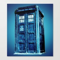 tardis Canvas Prints featuring TARDIS by Hands in the Sky