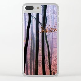 Foggy fall forest photography Clear iPhone Case