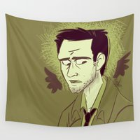 castiel Wall Tapestries featuring Castiel by The Art of Nicole