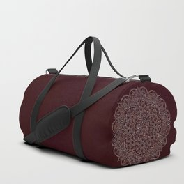 Royal Burgundy Rose Gold Marble Mandala Duffle Bag