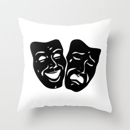 Theater Masks of Comedy and Tragedy Throw Pillow