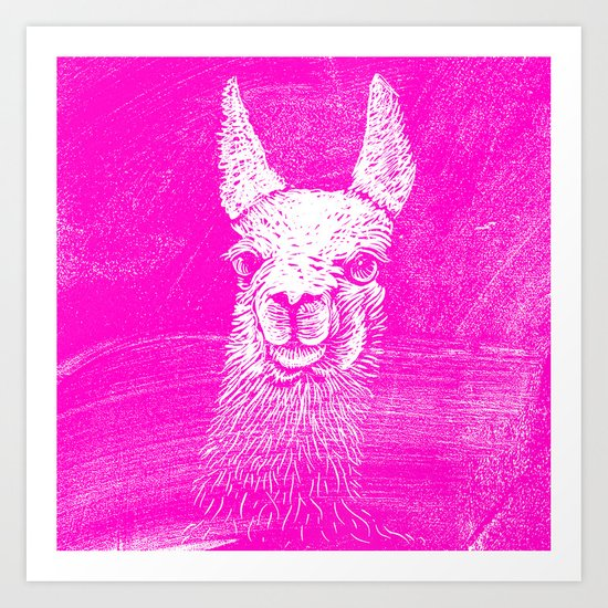 Funny Neon Pink Llama Animal Art Drawing Art Print