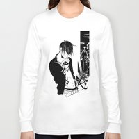 nail polish Long Sleeve T-shirts featuring Nail Biting by Cassandra Jean