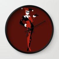 harley quinn Wall Clocks featuring Harley Quinn by karla estrada