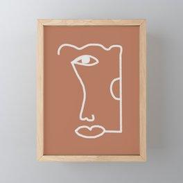 Woman Face, Burnt Orange, Minimal Line Drawing Framed Mini Art Print