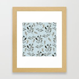 Pale Blue Bluebells and Bluebirds Floral Pattern Flowers in Blue and Bark Brown Framed Art Print