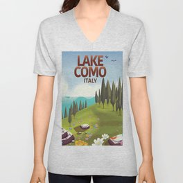 Lake Como Italy travel poster Unisex V-Neck