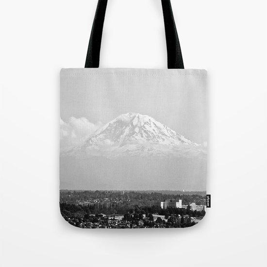 Hovering Mt Rainier in Mono Tote Bag