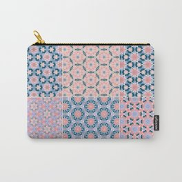 Abstract Pink and Blue Flower Patchwork Pattern Carry-All Pouch